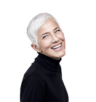 Portrait of laughing mature woman with short grey hair wearing black turtleneck pullover - RAMF00095