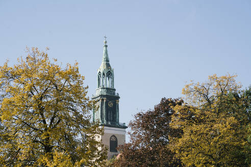 Spire of St. Mary's Church among autumnal treetops, Berlin, Germany - AHSF01096