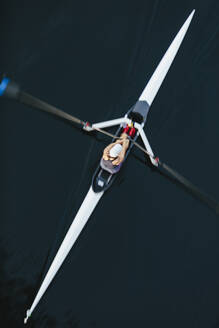 View from above of single scull crew racer, Lake Union, Seattle, Washington, USA. - MINF12830