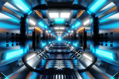3D Rendered Illustration, visualisation of a science fiction spaceship, gangway - SPCF00494