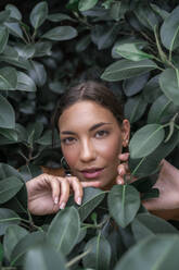 Portrait of young woman among green leaves - AFVF04207
