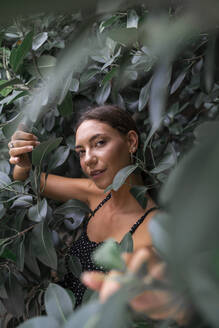 Portrait of young woman among green leaves - AFVF04210