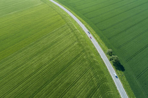 Germany, Bavaria, Aerial view of countryside highway cutting through green fields in spring - RUEF02382