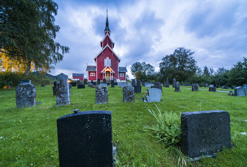 Tombstones in the graveyard of Veoy Church, Solsnes, Molde Municipality, More og Romsdal county, Norway, Scandinavia, Europe - RHPLF12844
