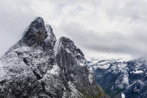 Aerial view of the rocky peak of Romsdalshornet, Venjesdalen valley, Andalsnes, More og Romsdal county, Norway, Scandinavia, Europe - RHPLF12847