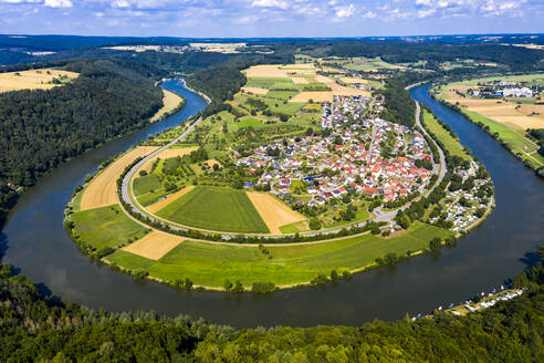 Germany, Bavaria, Binau, Aerial view of river curving around countryside town - AMF07519