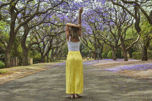 Woman in the middle of a street full of jacaranda trees in bloom, Pretoria, South Africa - VEGF00788