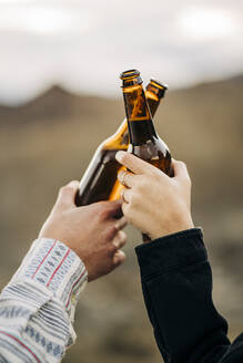 Close-up of couple clinking beer bottles - MPPF00267