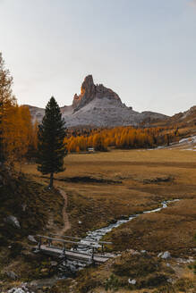 Autumn mountain landscape at the morning light, Dolomites, Cortina, Italy - MRAF00436