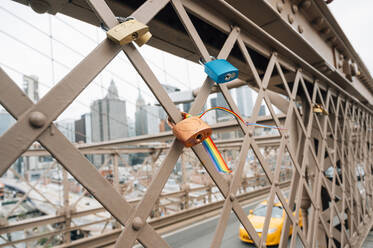 Love locks on Brooklyn Bridge, NYC, USA - JCMF00300