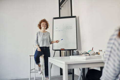 Smiling businesswoman leading a presentation at flip chart in conference room - ZEDF02844