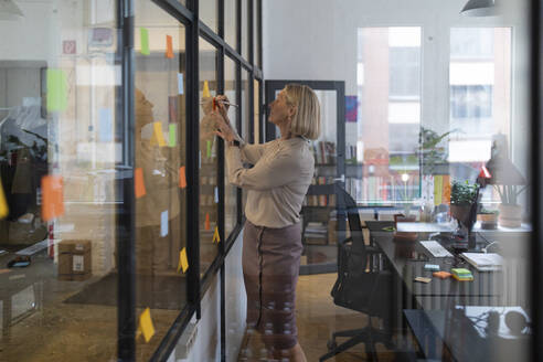 Mature businesswoman writing on adhesive notes on glass pane in office - GUSF02793