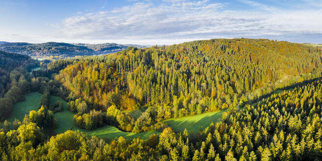 Germany, Baden-Wurttemberg, Aerial view of Haselbach Valley in Swabian-Franconian Forest - STSF02352