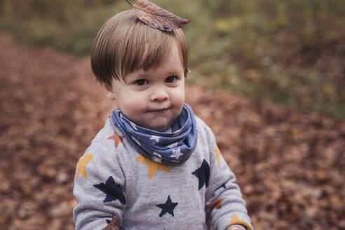 Germany, Baden-Wurttenberg, Lenningen, Portrait of little boy standing outdoors with fallen leaf on top of head - SEBF00278