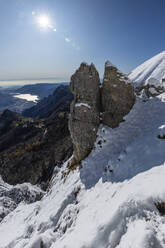 Panoramic view over snowy mountains, Lecco, Italy - MCVF00085