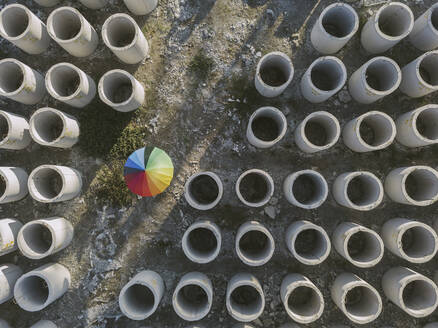 Aerial view of umbrella and concrete hoops - KNTF03747
