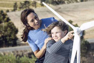 Mother and daughter with wind wheel - MCF00451