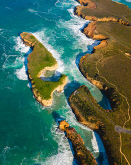 Aerial view of Great Ocean Road clifts in Australia. - AAEF05746