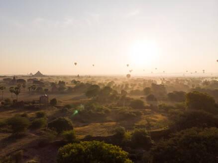 Aerial view of hot balloons flying over Bagan temples in Myanmar. - AAEF05770