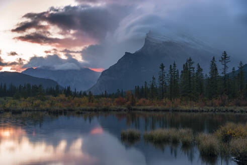 Sunrise and storm clouds at Vermillion Lakes with Mount Rundle in autumn, Banff National Park, UNESCO World Heritage Site, Alberta, Rocky Mountains, Canada, North America - RHPLF13120