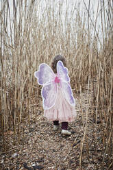 Back view of little girl in nature dressed up as a butterfly - RORF01966