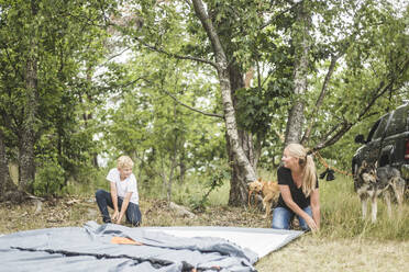 Smiling mother and son pitching tent in forest - MASF15656