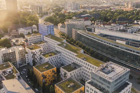 Germany, Hamburg, Aerial view of Neustadt apartment buildings - IHF00213