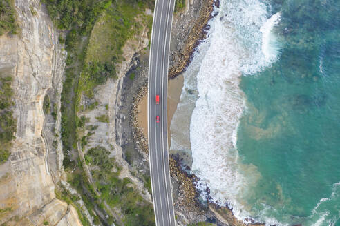 Aerial view of road crossing coastal line at New South Wales, Australia - AAEF06093