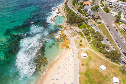 Aerial view above of Bronte Baths public swimming pool, Sydney. Australia. - AAEF06108