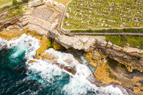Aerial view of Waverley Cemetery at water edge, Sydney. Australia. - AAEF06111