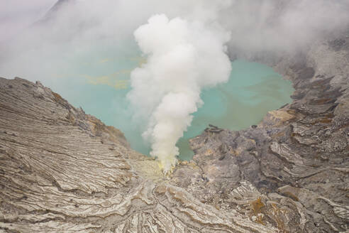 Aerial view of Gn. Merapi hot sprint, Indonesia. - AAEF06219