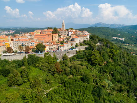 Aerial view of the mountain city of Labin surrounded by nature, Istria, Croatia. - AAEF06237