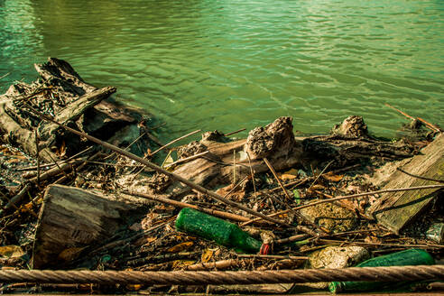 Dirty green river with old garbage botle - CAVF71683
