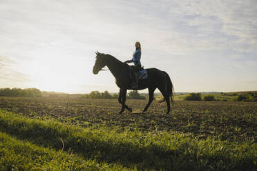 Woman riding horse on a field in the countryside at sunset - JOSF04121