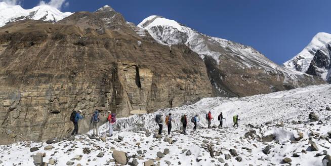 Trekking group at Chonbarden Glacier, Dhaulagiri Circuit Trek, Himalaya, Nepal - ALRF01649