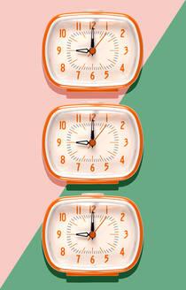 3D Illustration, row of orange alarm clocks at nine o'clock on pink and mint green background - GEMF03371