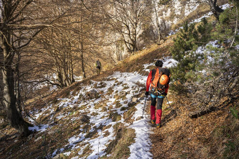 Two hikerswalking trought snowy forest, Orobie Alps, Lecco, Italy - MCVF00156