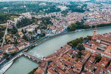 Italy, Veneto, aerial view of Verona and Adige river - DAWF01044