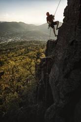 Man climbing at Battert rock, Baden-Baden, Germany - MSUF00122