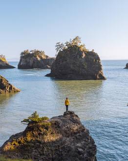 Man overlooking rugged coastline, Oregon, USA - ISF23531