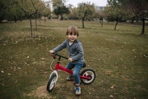 Portrait of little boy with bogie wheel on autumnal meadow - GRCF00044