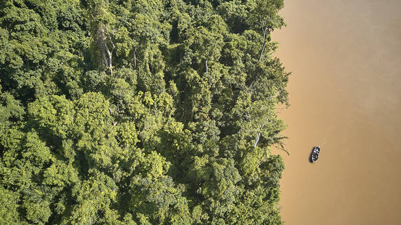 Cameroon, Aerial view of Sanaga river and forest - VEGF01405