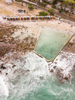 Aerial view of St James Tidal public swimming pool, Cape Town, South Africa. - AAEF06317