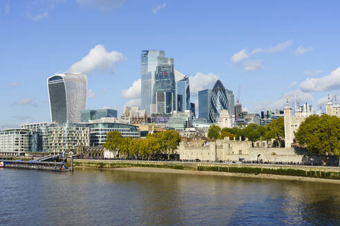 City of London skyscrapers and the Tower of London viewed across the River Thames, London, England, United Kingdom, Europe - RHPLF13457