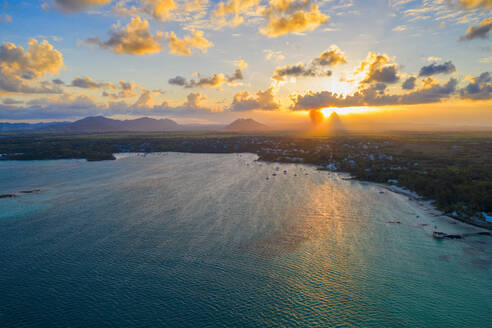 Sunset over Trou d'Eau Douce bay, aerial view, Flacq district, East coast, Mauritius, Indian Ocean, Africa - RHPLF13609