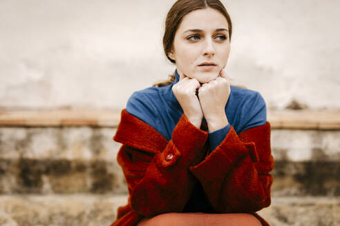 Close up portrait of woman with blue turtleneck pullover - TCEF00011