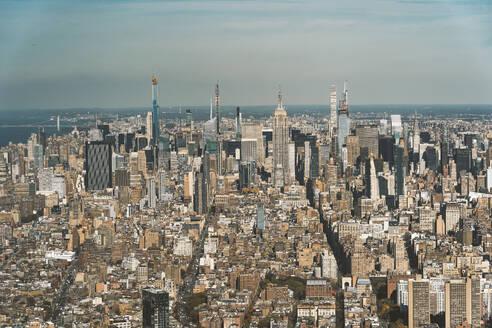 USA, New York, New York City, Aerial view of Manhattan skyline - DAMF00255