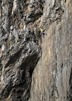 Rock climber, Mother Carey's Kitchen, Pembrokeshire, United Kingdom - ALRF01700