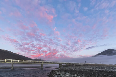 New Zealand, Clouds over Bealey Bridge at foggy dawn - FOF11559