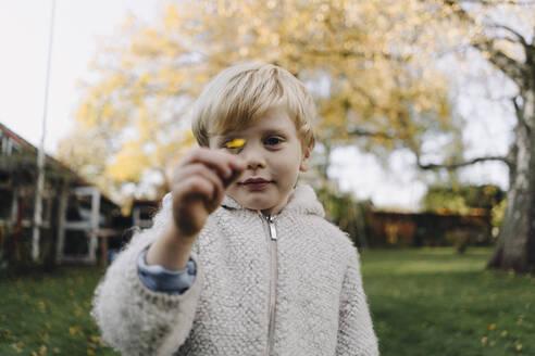 Portrait of boy holding tiny autumn leaf in garden - KNSF07136